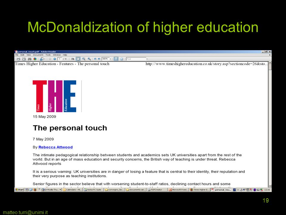 matteo.turri@unimi.it 19 McDonaldization of higher education