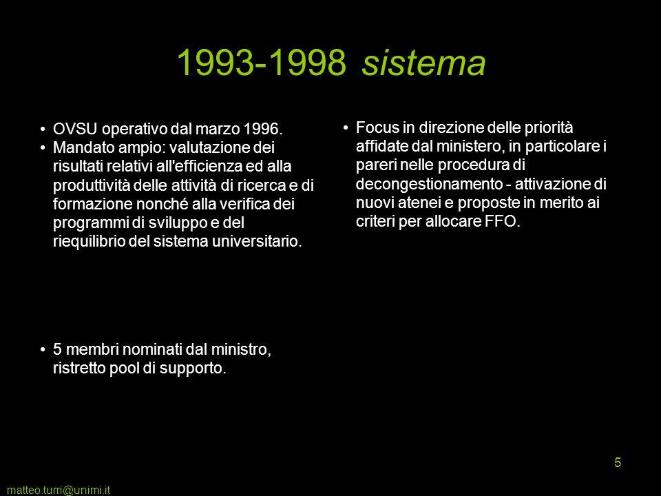 matteo.turri@unimi.it 5 1993-1998 sistema OVSU operativo dal marzo 1996. Mandato ampio: valutazione dei risultati relativi all'efficienza ed alla prod