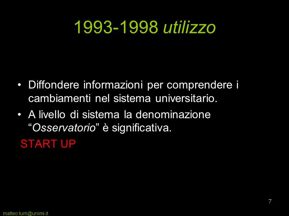 matteo.turri@unimi.it 8 1999-2006 molte informazioni pochi risultati novembre 1999: legge 370 sostituisce OVSU con CNVSU, rafforza funzioni dei nuclei di valutazione 2004: CIVR lancia la VTR 2001- 2003 2000: European Network for Quality Assurance in Higher Education.