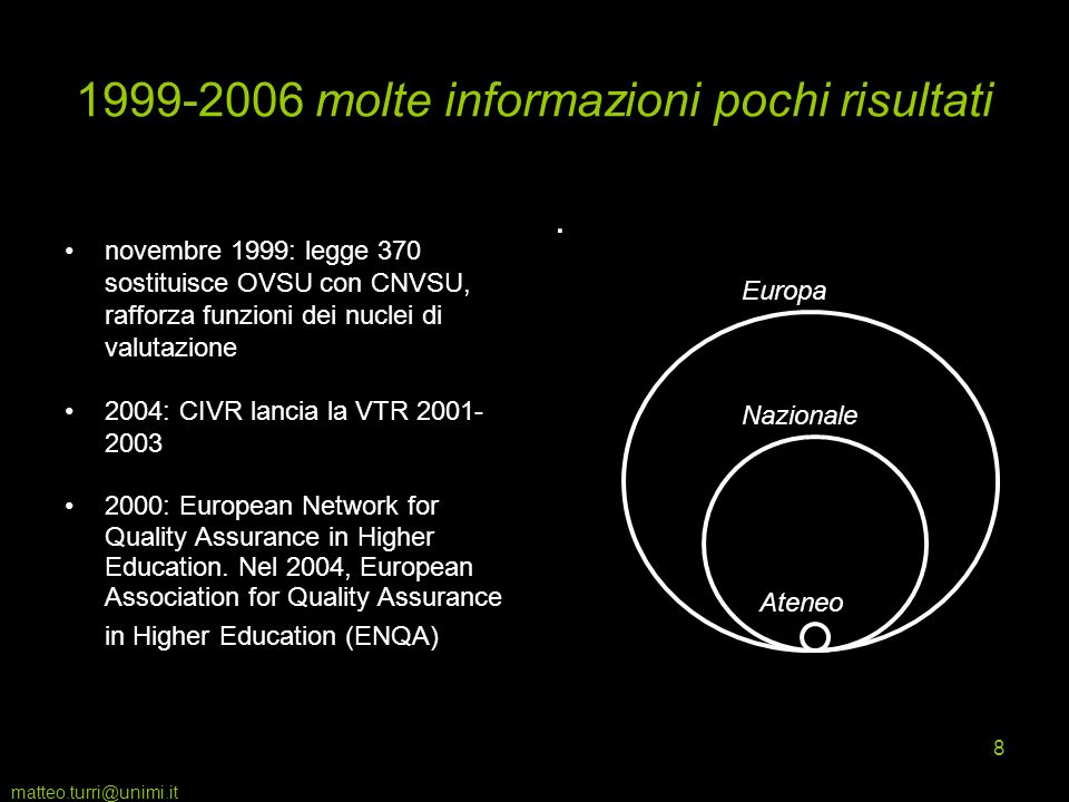 matteo.turri@unimi.it 8 1999-2006 molte informazioni pochi risultati novembre 1999: legge 370 sostituisce OVSU con CNVSU, rafforza funzioni dei nuclei di valutazione 2004: CIVR lancia la VTR 2001- 2003 2000: European Network for Quality Assurance in Higher Education.