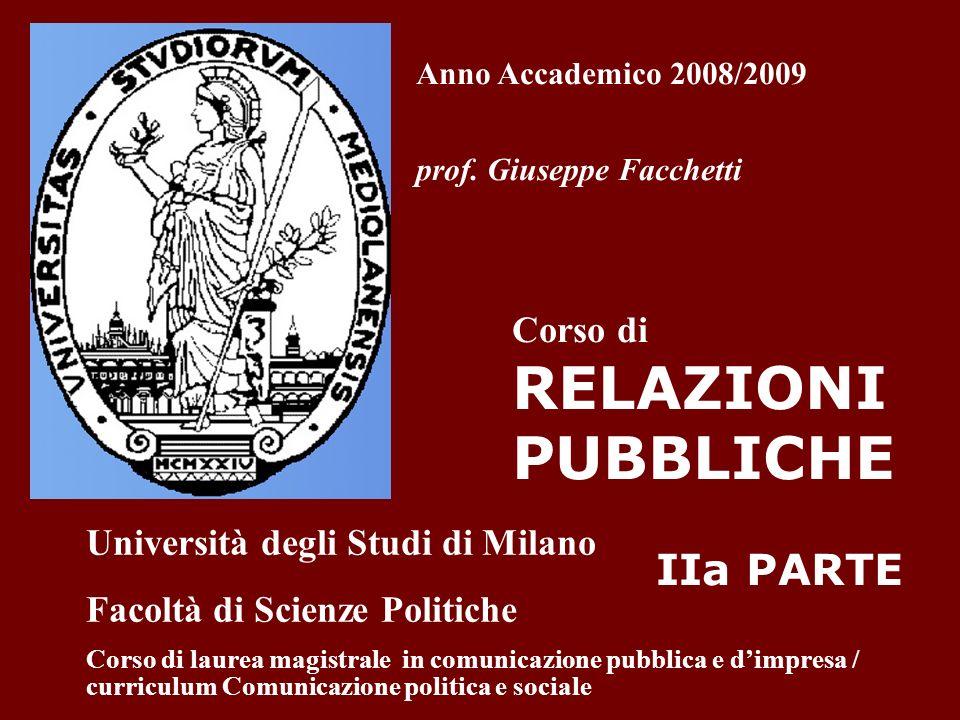 Anno Accademico 2008/2009 prof. Giuseppe Facchetti Corso di RELAZIONI PUBBLICHE IIa PARTE Università degli Studi di Milano Facoltà di Scienze Politich