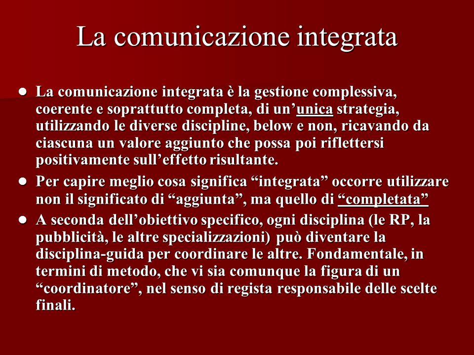 La comunicazione integrata La comunicazione integrata è la gestione complessiva, coerente e soprattutto completa, di ununica strategia, utilizzando le