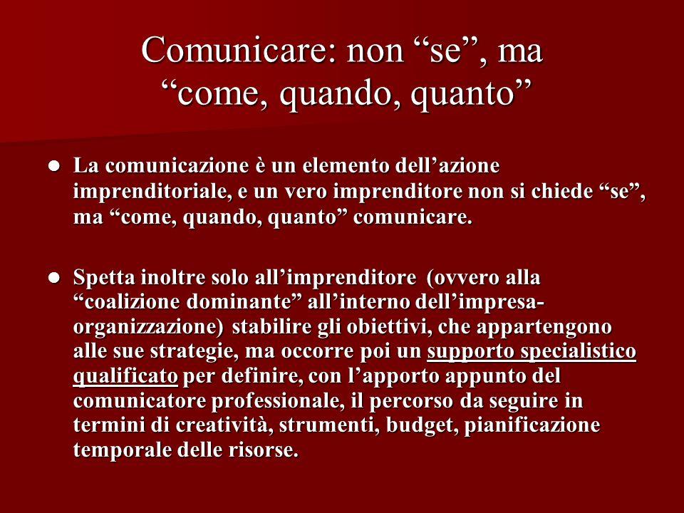 Comunicare: non se, ma come, quando, quanto La comunicazione è un elemento dellazione imprenditoriale, e un vero imprenditore non si chiede se, ma com