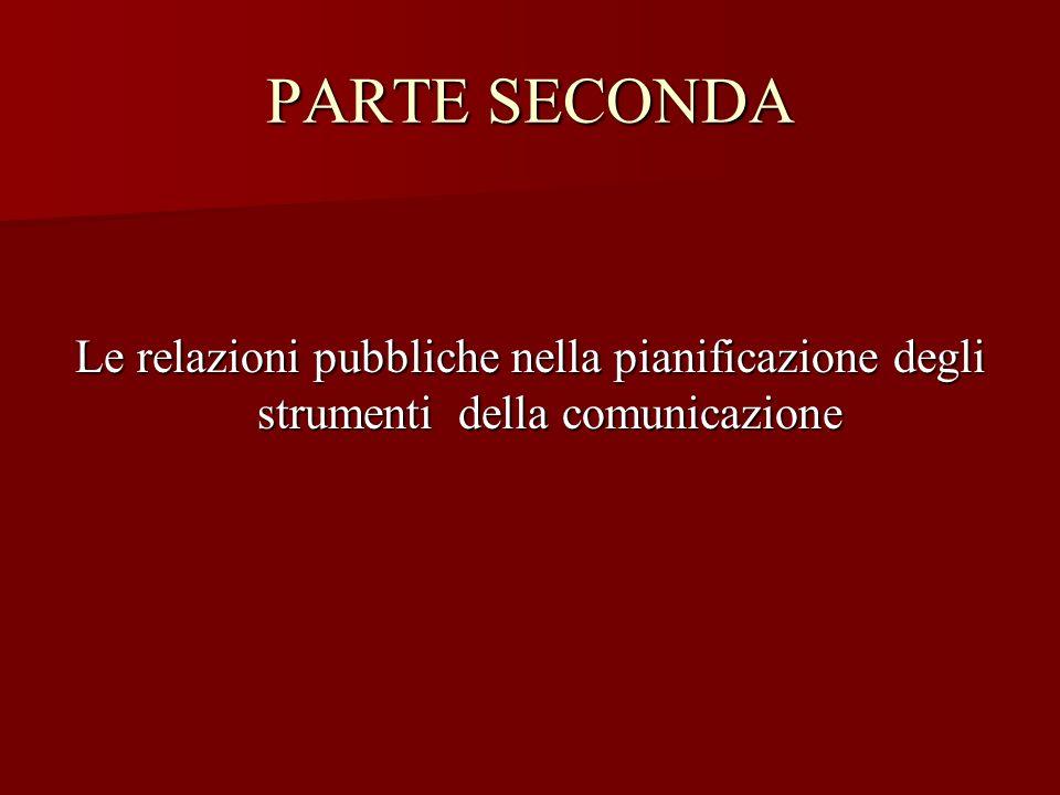 PARTE SECONDA Le relazioni pubbliche nella pianificazione degli strumenti della comunicazione