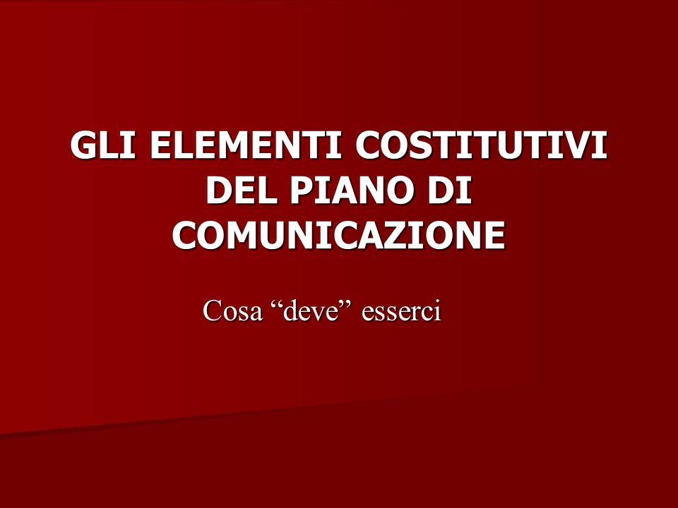 GLI ELEMENTI COSTITUTIVI DEL PIANO DI COMUNICAZIONE Cosa deve esserci