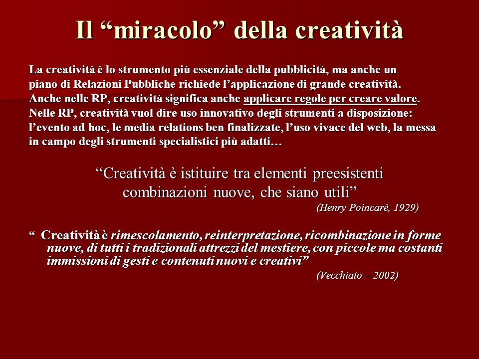 Il miracolo della creatività La creatività è lo strumento più essenziale della pubblicità, ma anche un piano di Relazioni Pubbliche richiede lapplicaz