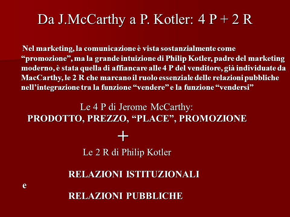 Da J.McCarthy a P. Kotler: 4 P + 2 R Nel marketing, la comunicazione è vista sostanzialmente come promozione, ma la grande intuizione di Philip Kotler
