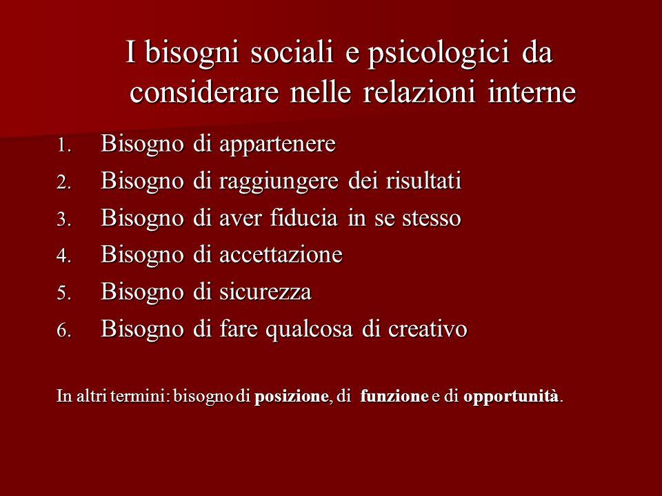 I bisogni sociali e psicologici da considerare nelle relazioni interne I bisogni sociali e psicologici da considerare nelle relazioni interne 1. Bisog