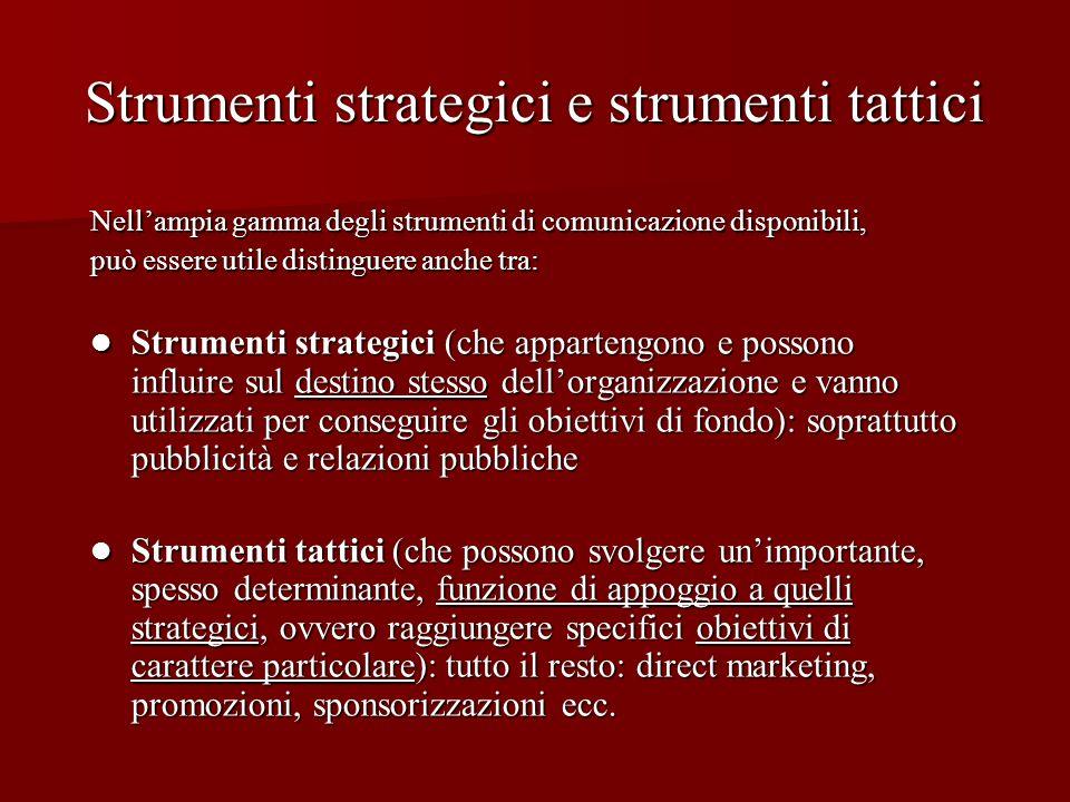 Strumenti strategici e strumenti tattici Nellampia gamma degli strumenti di comunicazione disponibili, può essere utile distinguere anche tra: Strumen