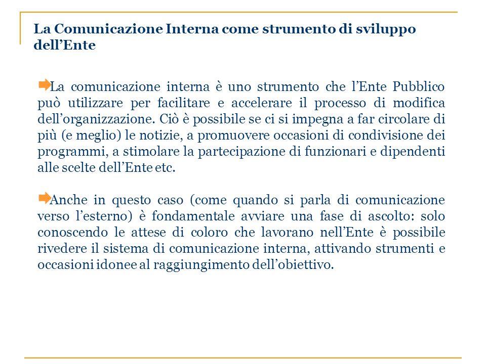 La Comunicazione Interna come strumento di sviluppo dellEnte La comunicazione interna è uno strumento che lEnte Pubblico può utilizzare per facilitare e accelerare il processo di modifica dellorganizzazione.