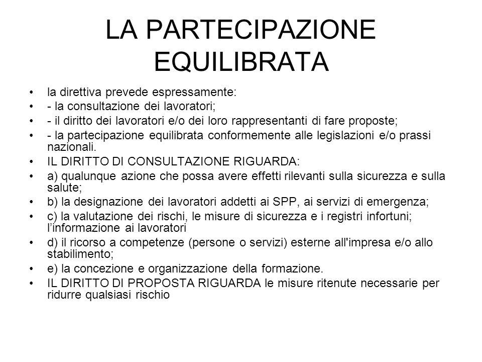 LA PARTECIPAZIONE EQUILIBRATA la direttiva prevede espressamente: - la consultazione dei lavoratori; - il diritto dei lavoratori e/o dei loro rapprese
