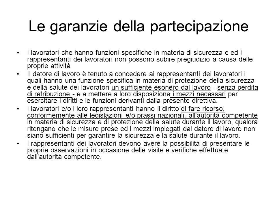 Le garanzie della partecipazione I lavoratori che hanno funzioni specifiche in materia di sicurezza e ed i rappresentanti dei lavoratori non possono s