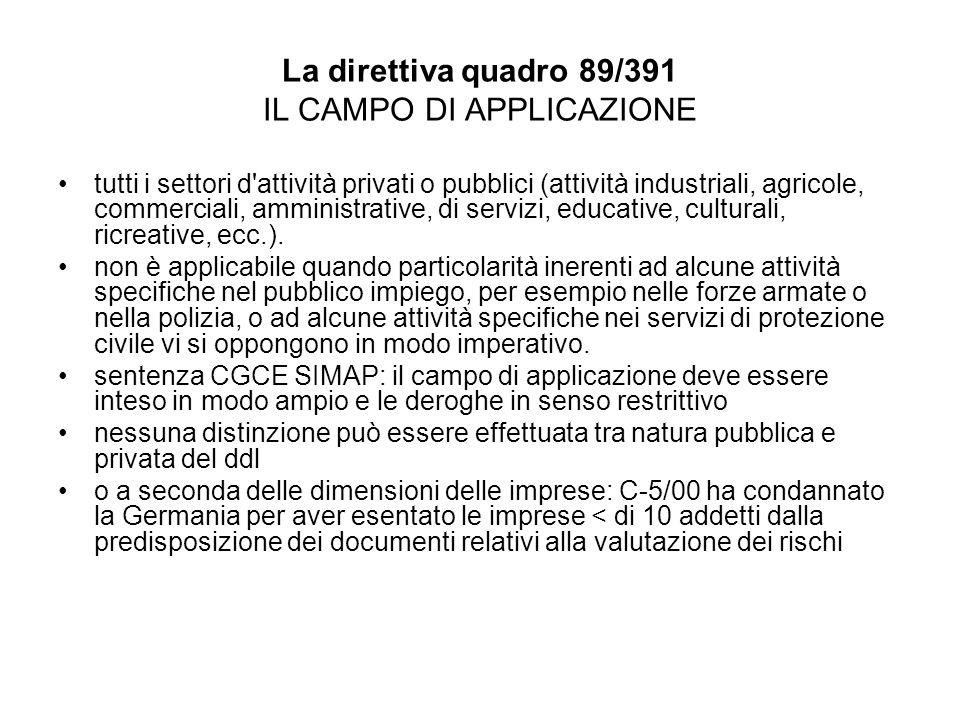 La direttiva quadro 89/391 IL CAMPO DI APPLICAZIONE tutti i settori d'attività privati o pubblici (attività industriali, agricole, commerciali, ammini