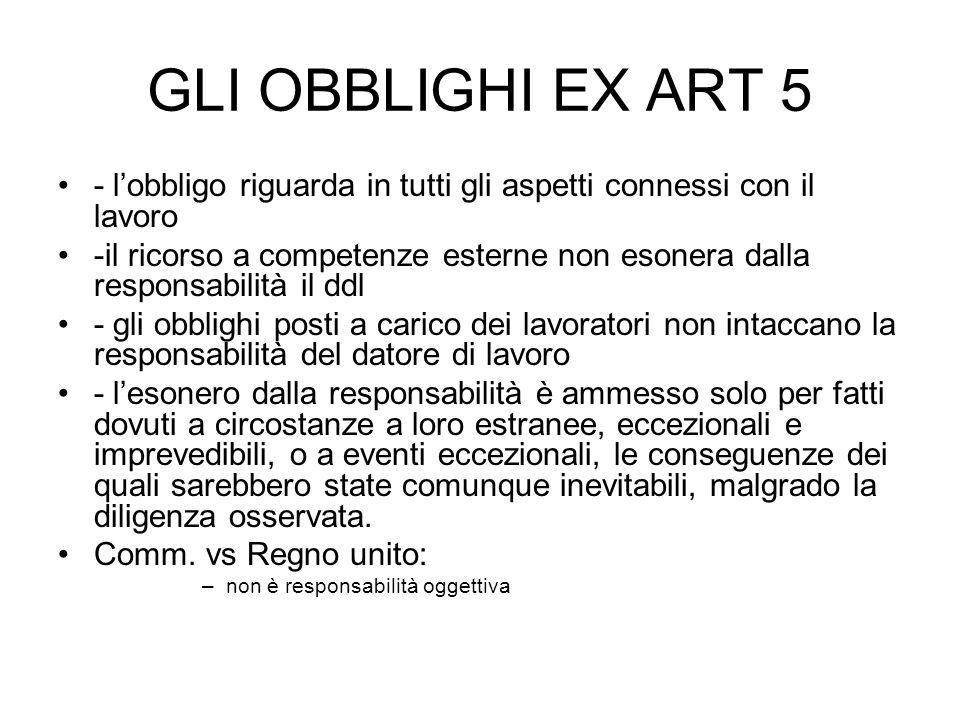 GLI OBBLIGHI EX ART 5 - lobbligo riguarda in tutti gli aspetti connessi con il lavoro -il ricorso a competenze esterne non esonera dalla responsabilit