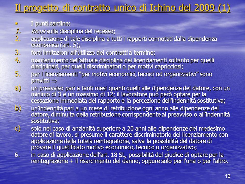 12 Il progetto di contratto unico di Ichino del 2009 (1) Il progetto di contratto unico di Ichino del 2009 (1) I punti cardine: I punti cardine: 1. fo