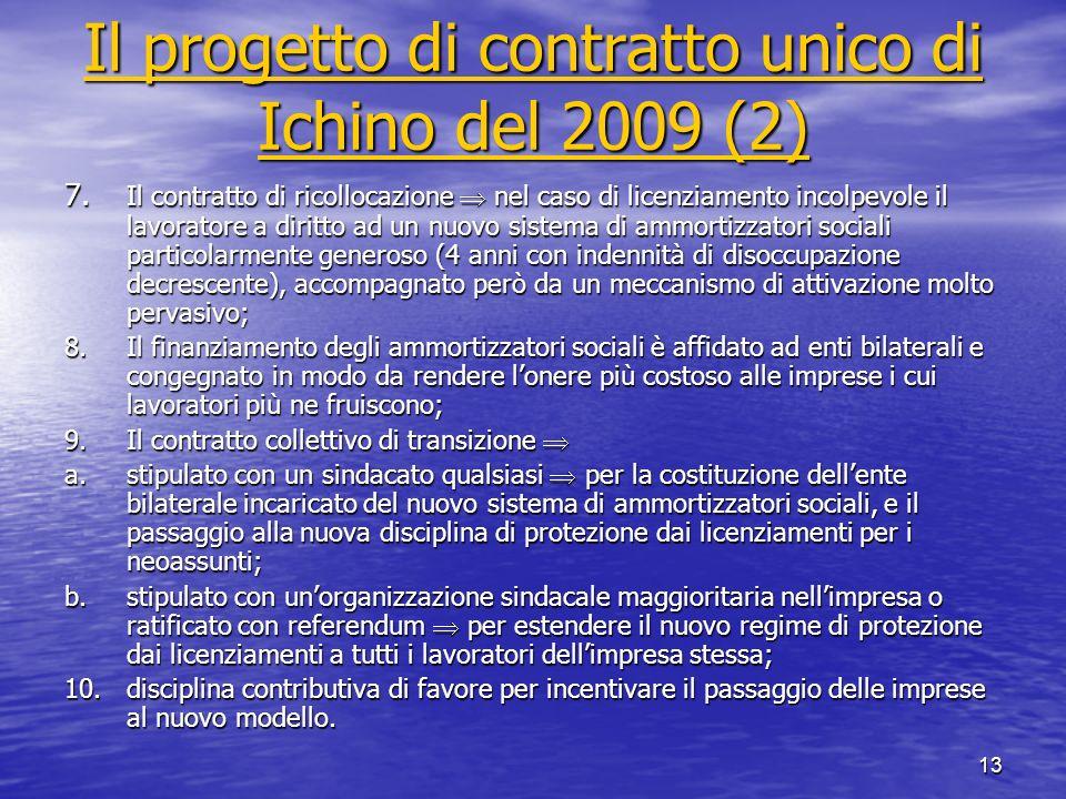 13 Il progetto di contratto unico di Ichino del 2009 (2) Il progetto di contratto unico di Ichino del 2009 (2) 7. Il contratto di ricollocazione nel c