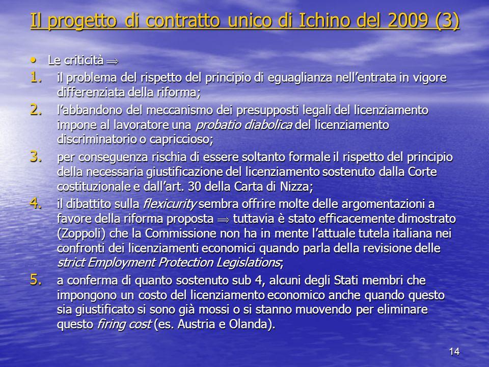 Il progetto di contratto unico di Ichino del 2009 (3) Il progetto di contratto unico di Ichino del 2009 (3) Le criticità Le criticità 1. il problema d