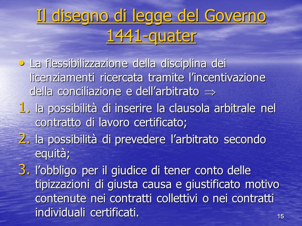 Il disegno di legge del Governo 1441-quater Il disegno di legge del Governo 1441-quater La flessibilizzazione della disciplina dei licenziamenti ricer