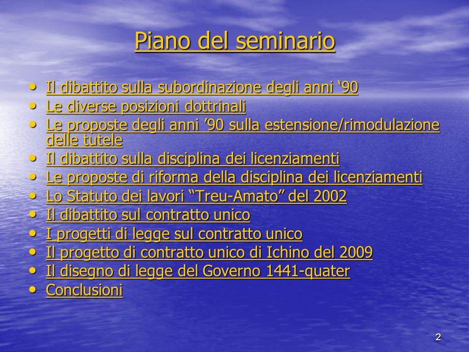 2 Piano del seminario Piano del seminario Il dibattito sulla subordinazione degli anni 90 Il dibattito sulla subordinazione degli anni 90 Il dibattito