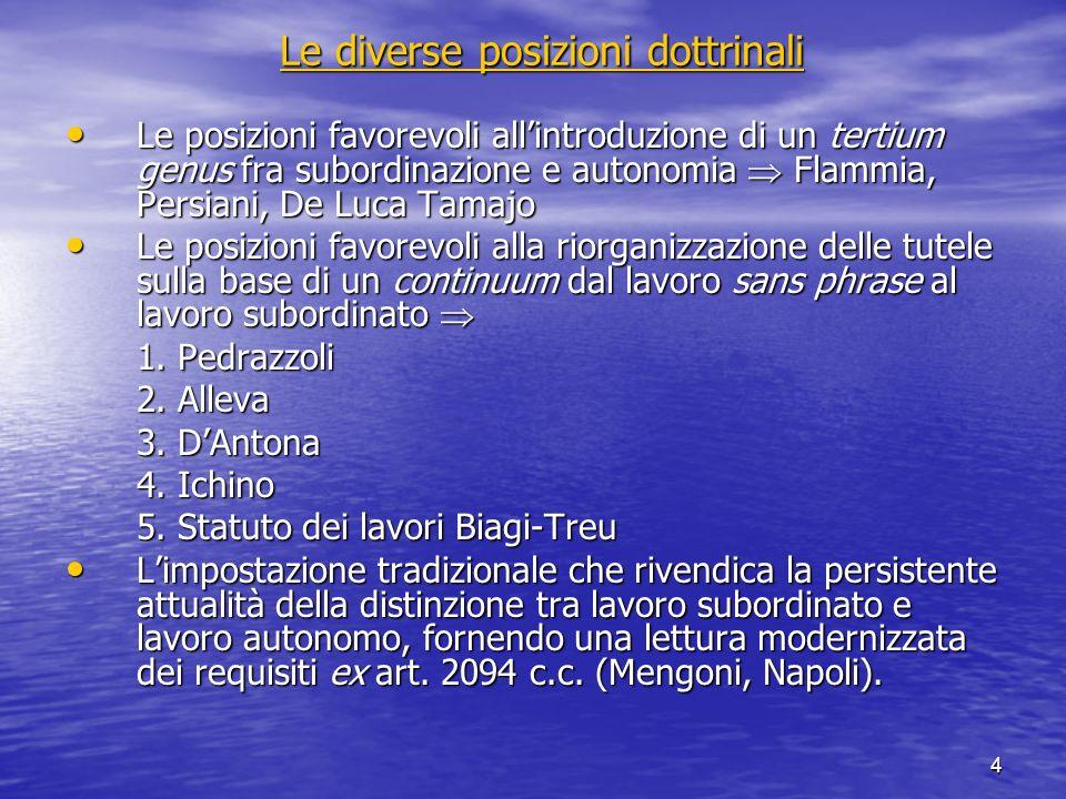 4 Le diverse posizioni dottrinali Le diverse posizioni dottrinali Le posizioni favorevoli allintroduzione di un tertium genus fra subordinazione e aut
