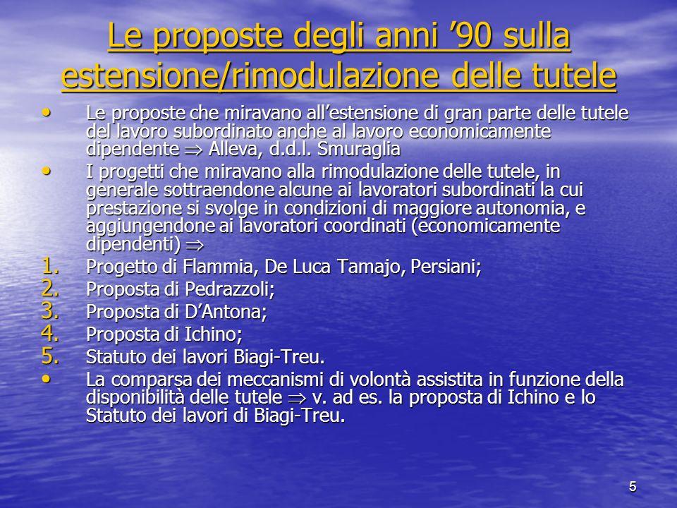 5 Le proposte degli anni 90 sulla estensione/rimodulazione delle tutele Le proposte degli anni 90 sulla estensione/rimodulazione delle tutele Le propo