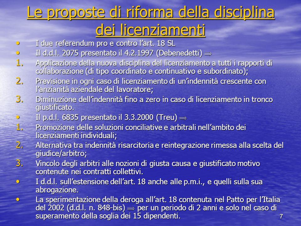 7 Le proposte di riforma della disciplina dei licenziamenti Le proposte di riforma della disciplina dei licenziamenti I due referendum pro e contro la