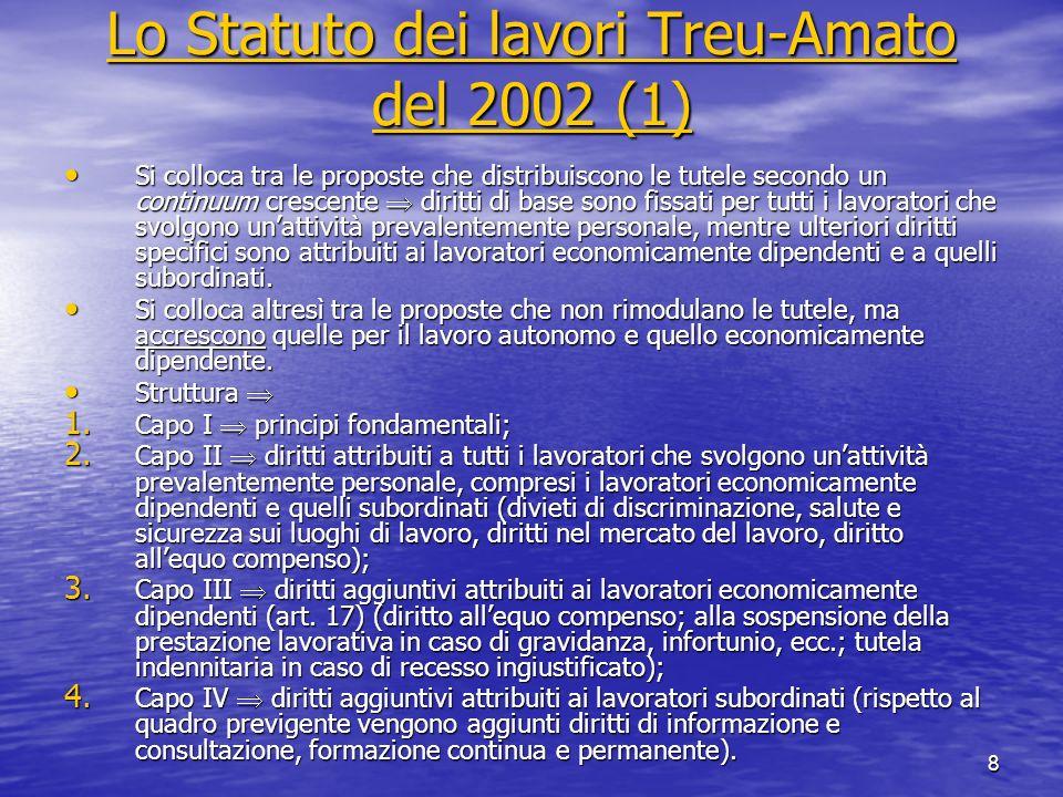 9 Lo Statuto dei lavori Treu-Amato del 2002 (2) Lo Statuto dei lavori Treu-Amato del 2002 (2) Il dibattito sul progetto di Statuto dei lavori Il dibattito sul progetto di Statuto dei lavori Le critiche della CGIL Le critiche della CGIL la proposta differenzia arbitrariamente la disciplina dei lavoratori economicamente dipendenti e quella dei lavoratori subordinati sulla base del criterio della modalità della esecuzione della prestazione (eterodirezione coordinazione), assunto come poco rilevante; la proposta differenzia arbitrariamente la disciplina dei lavoratori economicamente dipendenti e quella dei lavoratori subordinati sulla base del criterio della modalità della esecuzione della prestazione (eterodirezione coordinazione), assunto come poco rilevante; i singoli diritti attribuiti ai lavoratori economicamente indipendenti vengono considerati insufficienti per farli uscire dalla precarietà (ad es.