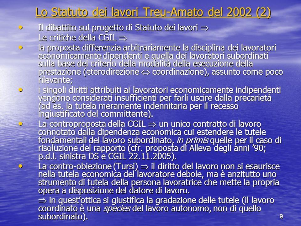 9 Lo Statuto dei lavori Treu-Amato del 2002 (2) Lo Statuto dei lavori Treu-Amato del 2002 (2) Il dibattito sul progetto di Statuto dei lavori Il dibat