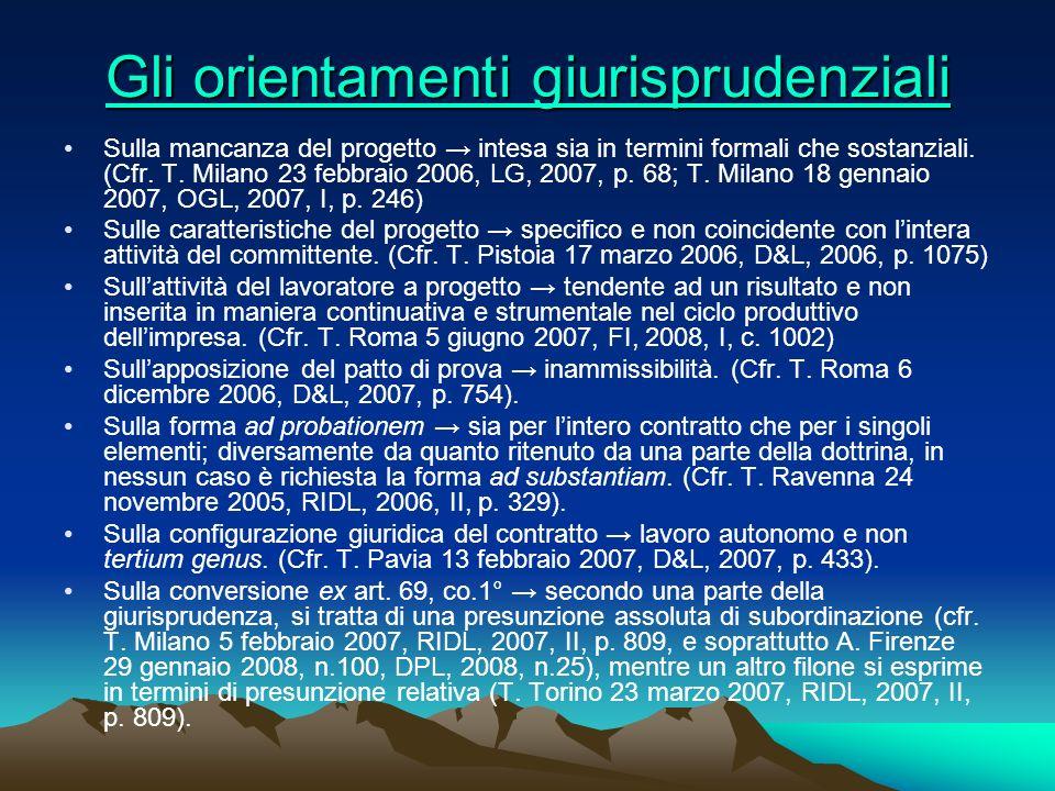 Gli orientamenti giurisprudenziali Gli orientamenti giurisprudenziali Sulla mancanza del progetto intesa sia in termini formali che sostanziali. (Cfr.