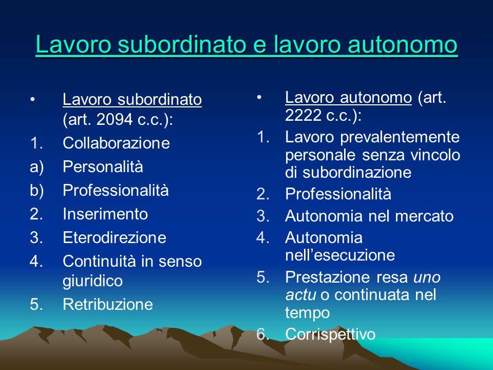 Lavoro subordinato e lavoro autonomo Lavoro subordinato e lavoro autonomo Lavoro subordinato (art. 2094 c.c.): 1.Collaborazione a)Personalità b) Profe