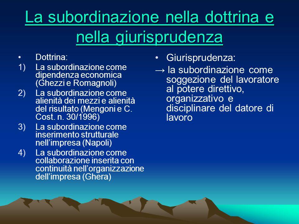 La subordinazione nella dottrina e nella giurisprudenza La subordinazione nella dottrina e nella giurisprudenza Dottrina: 1)La subordinazione come dip