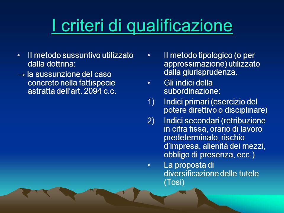 I criteri di qualificazione I criteri di qualificazione Il metodo sussuntivo utilizzato dalla dottrina: la sussunzione del caso concreto nella fattisp