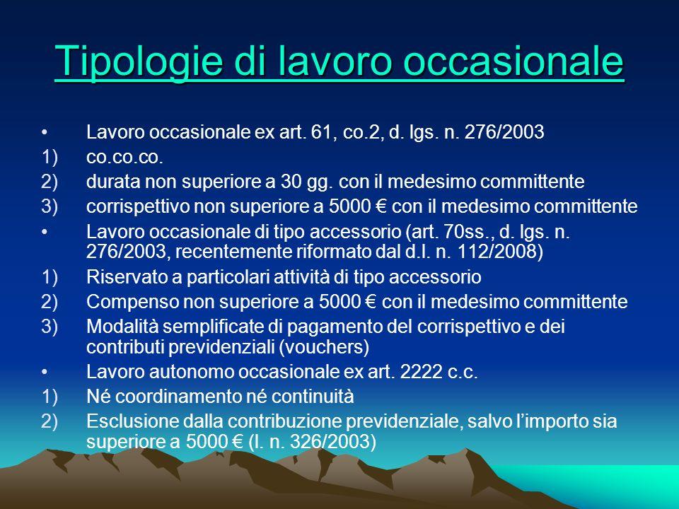 Tipologie di lavoro occasionale Tipologie di lavoro occasionale Lavoro occasionale ex art. 61, co.2, d. lgs. n. 276/2003 1)co.co.co. 2)durata non supe