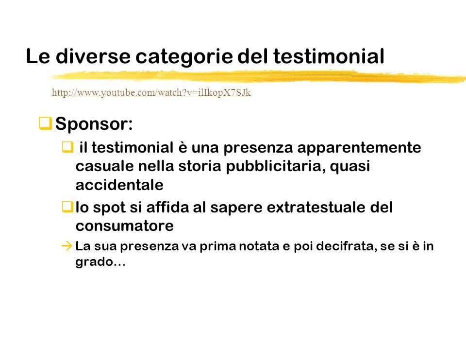 Le diverse categorie del testimonial Sponsor: il testimonial è una presenza apparentemente casuale nella storia pubblicitaria, quasi accidentale lo sp