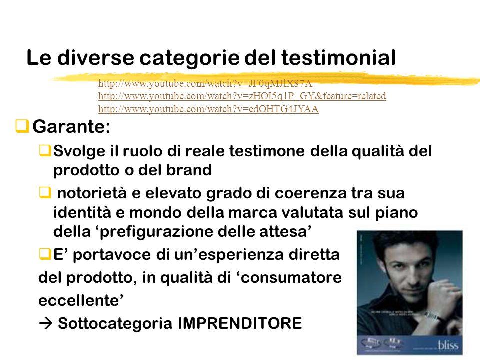 Le diverse categorie del testimonial Garante: Svolge il ruolo di reale testimone della qualità del prodotto o del brand notorietà e elevato grado di c