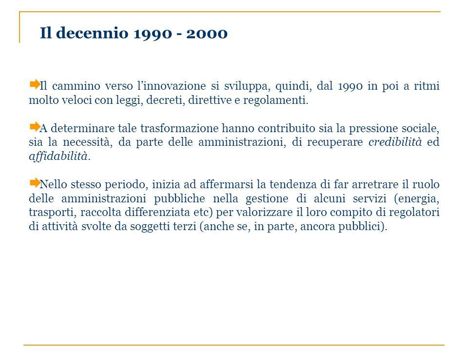 Il decennio 1990 - 2000 Il cammino verso linnovazione si sviluppa, quindi, dal 1990 in poi a ritmi molto veloci con leggi, decreti, direttive e regola