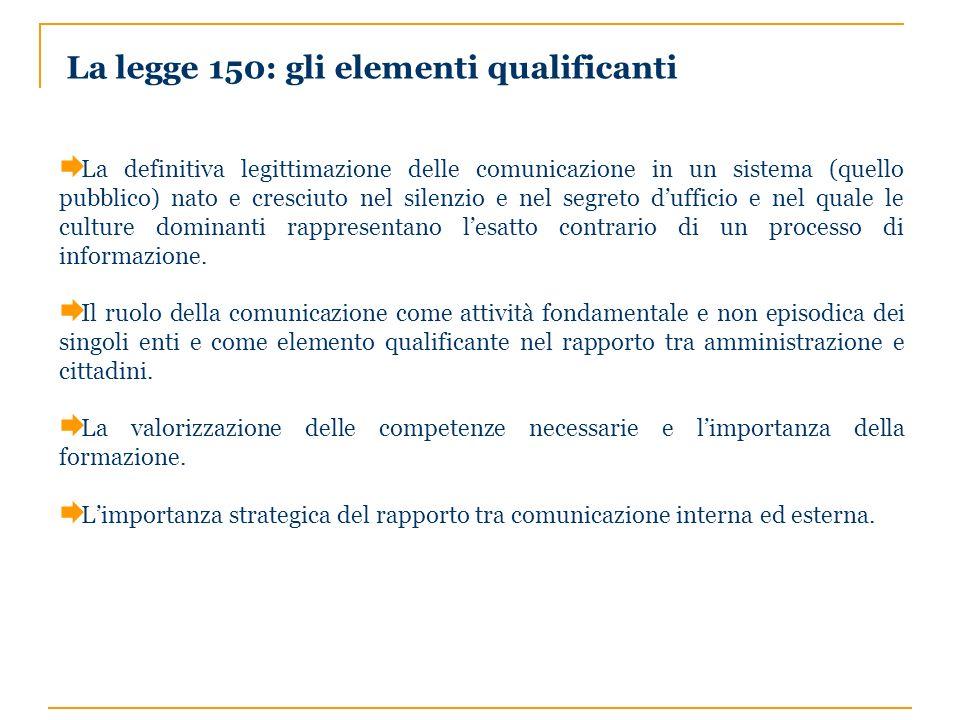 La legge 150: gli elementi qualificanti La definitiva legittimazione delle comunicazione in un sistema (quello pubblico) nato e cresciuto nel silenzio