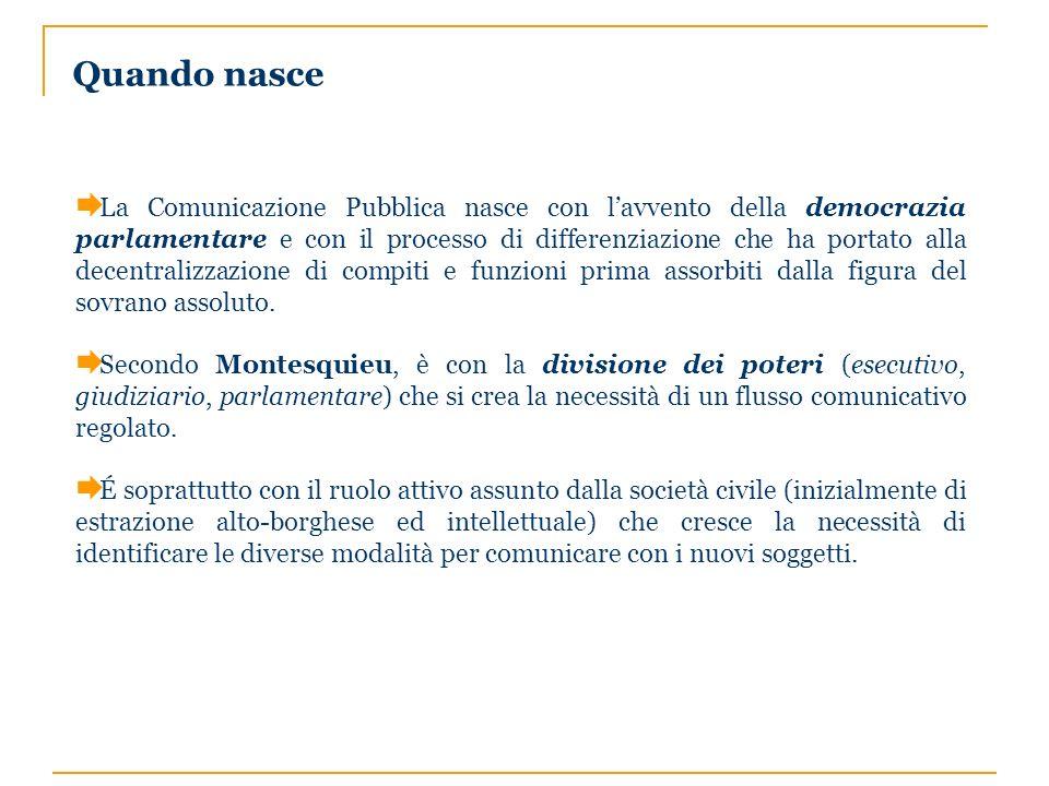 Quando nasce La Comunicazione Pubblica nasce con lavvento della democrazia parlamentare e con il processo di differenziazione che ha portato alla dece