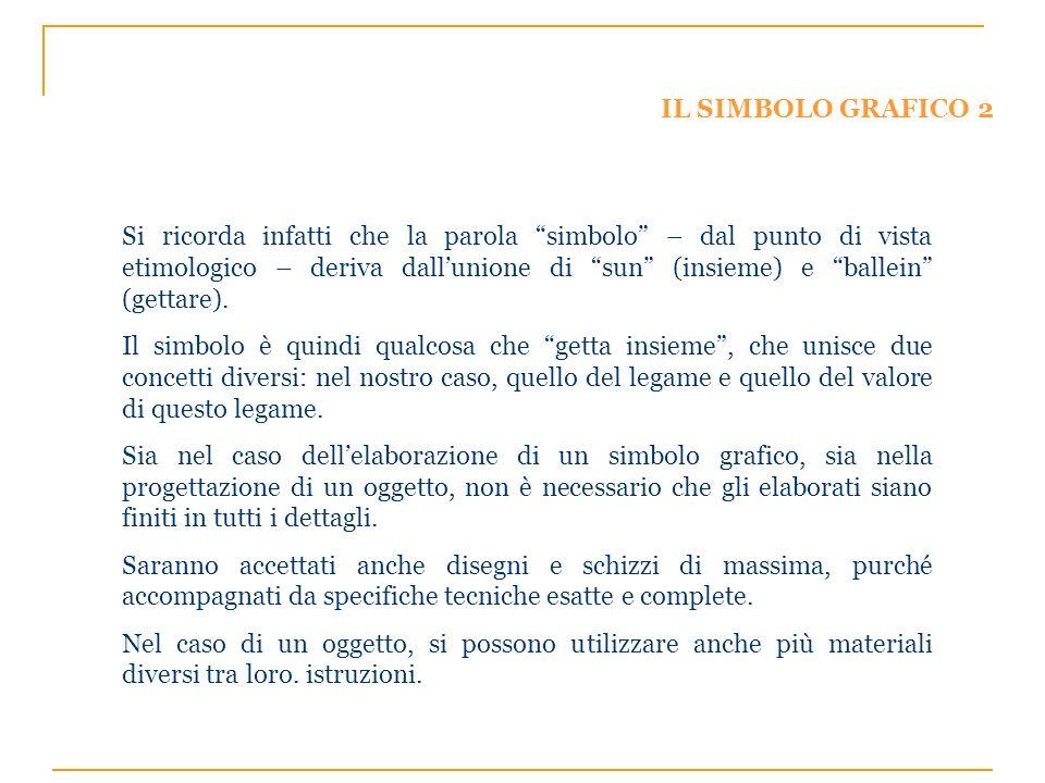 IL SIMBOLO GRAFICO 2 Si ricorda infatti che la parola simbolo – dal punto di vista etimologico – deriva dallunione di sun (insieme) e ballein (gettare).