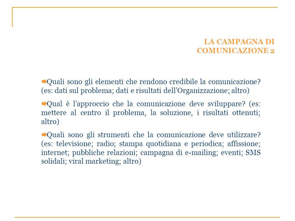 LA CAMPAGNA DI COMUNICAZIONE 2 Quali sono gli elementi che rendono credibile la comunicazione? (es: dati sul problema; dati e risultati dellOrganizzaz