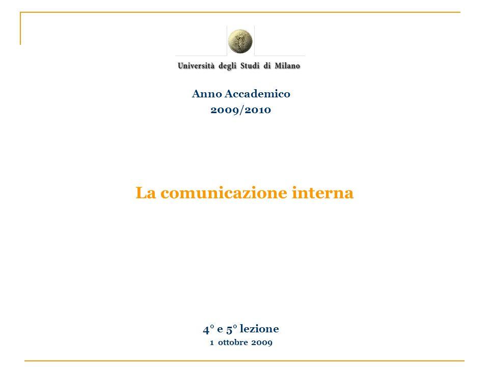 La comunicazione interna 4° e 5° lezione 1 ottobre 2009 Anno Accademico 2009/2010