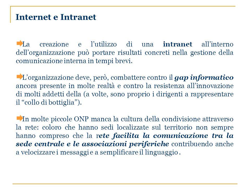 Internet e Intranet La creazione e lutilizzo di una intranet allinterno dellorganizzazione può portare risultati concreti nella gestione della comunicazione interna in tempi brevi.