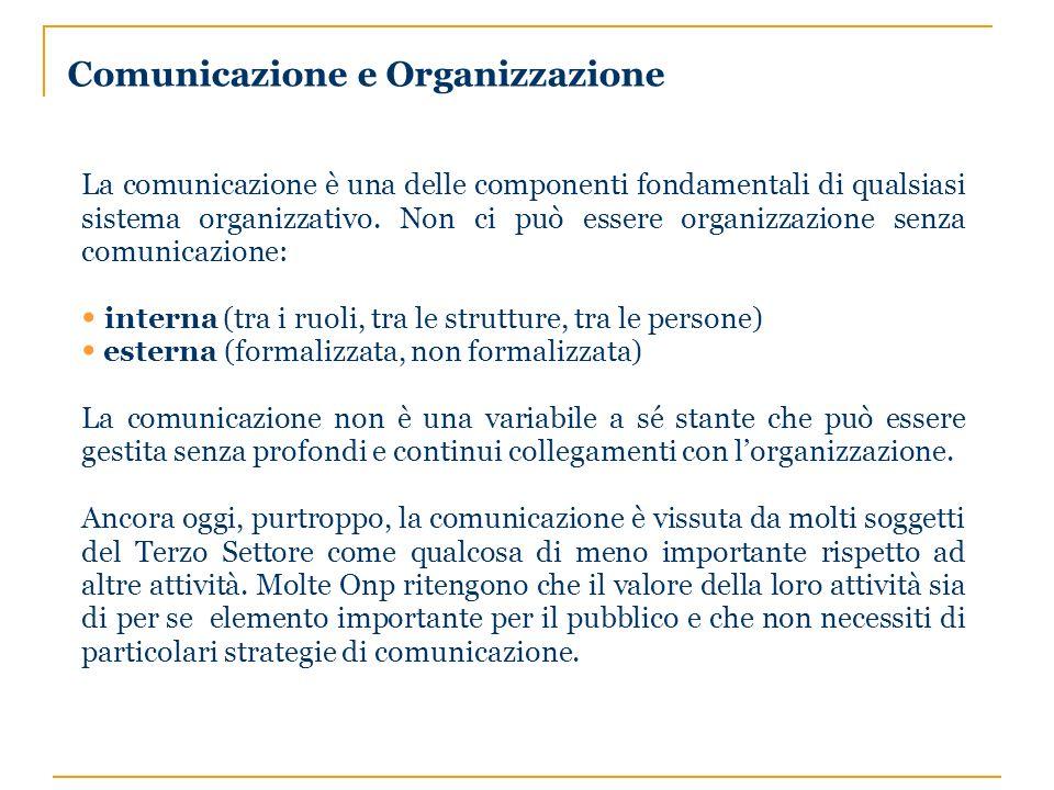 Comunicazione e Organizzazione La comunicazione è una delle componenti fondamentali di qualsiasi sistema organizzativo.