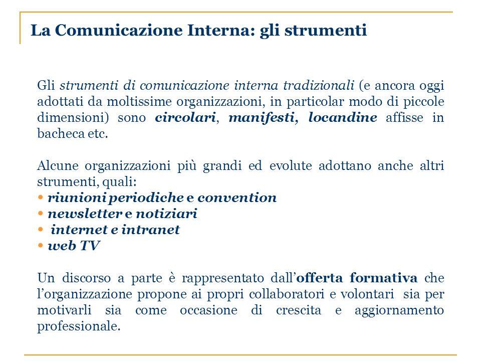 La Comunicazione Interna: gli strumenti Gli strumenti di comunicazione interna tradizionali (e ancora oggi adottati da moltissime organizzazioni, in particolar modo di piccole dimensioni) sono circolari, manifesti, locandine affisse in bacheca etc.