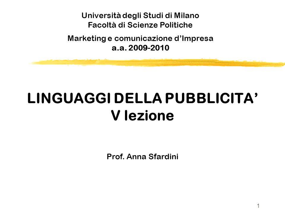 LINGUAGGI DELLA PUBBLICITA V lezione Prof. Anna Sfardini Università degli Studi di Milano Facoltà di Scienze Politiche v Marketing e comunicazione dIm
