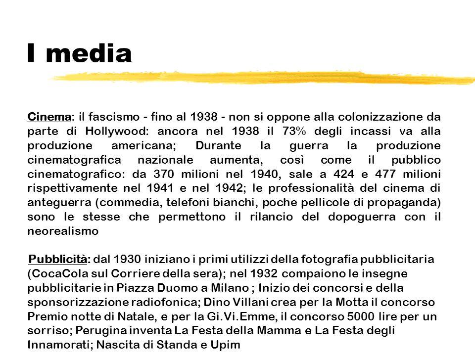 I media Cinema: il fascismo - fino al 1938 - non si oppone alla colonizzazione da parte di Hollywood: ancora nel 1938 il 73% degli incassi va alla pro