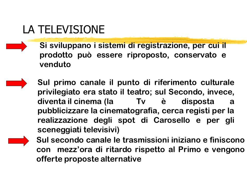 LA TELEVISIONE Sul secondo canale le trasmissioni iniziano e finiscono con mezzora di ritardo rispetto al Primo e vengono offerte proposte alternative