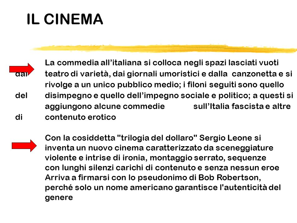 IL CINEMA La commedia allitaliana si colloca negli spazi lasciati vuoti dal teatro di varietà, dai giornali umoristici e dalla canzonetta e si rivolge