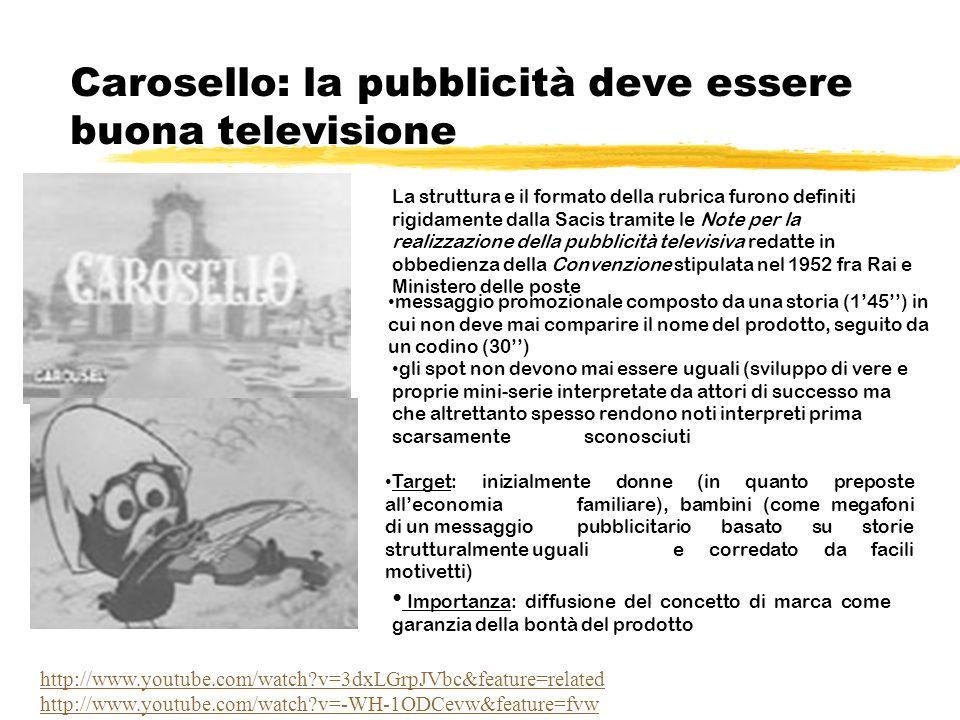 Carosello: la pubblicità deve essere buona televisione La struttura e il formato della rubrica furono definiti rigidamente dalla Sacis tramite le Note