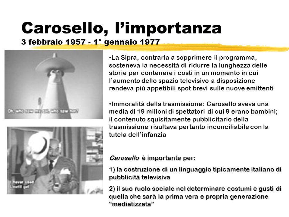 Carosello, limportanza 3 febbraio 1957 - 1° gennaio 1977 La Sipra, contraria a sopprimere il programma, sosteneva la necessità di ridurre la lunghezza